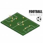 Soccer strategy formation type 5-3-2. EPS10