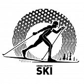 Cross-country skiing. Vector illustration in the engraving style