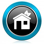house glossy icon ecological home symbol