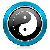 image of ying-yang  - ying yang glossy icon   - JPG