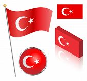 picture of flag pole  - Turkish flag on a pole badge and isometric designs vector illustration - JPG