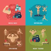 picture of muscle builder  - Bodybuilding flat icons set with muscle mass gym routine weight training isolated vector illustration - JPG