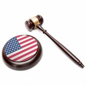 Judge Gavel And Soundboard With National Flag On It - United States