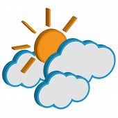 Cloud with sunny weather forecast vector icon.EPS10
