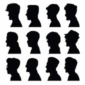 Men's Profiles With Different Hairstyles
