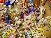 VENICE, ITALY - FEBRUARY 27, 2014:Masks in a shop window in Venice, Italy on February 2014.  In 2014 was the Venetian Carnival held between 15 February and 4 march For only editorial
