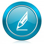 pencil blue icon draw sign