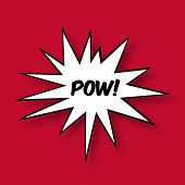 The word Pow in a Comic Book Star on red Background