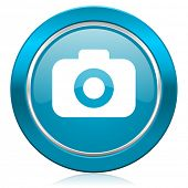 photo camera blue icon photography sign