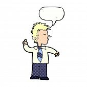 cartoon man making his point with speech bubble