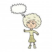 cartoon annoyed old woman with speech bubble