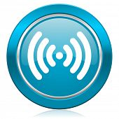 wifi blue icon wireless network sign