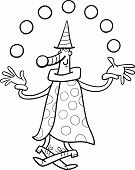 image of circus clown  - Black and White Cartoon Illustration of Funny Clown Circus Performer Juggling Balls for Coloring Book - JPG