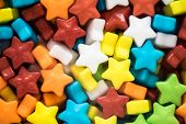 Multicolored stars candies closeup