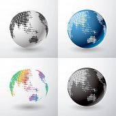 vector globe icon with dots in four variations