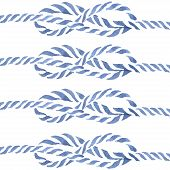 Blue rope knot  eight hand drawn watercolor illustration set