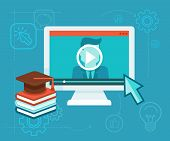 pic of online education  - Vector webinar concept in flat style  - JPG