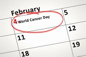 pic of february  - An image of a calendar detail shows february the 4th World Cancer Day - JPG