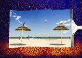 Beach Landscape In Rain Wiped The Wet Glass