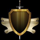 Ancient Gold Shield With Gold Scroll And Sword On Black Background.