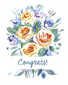 Vector greeting card bouquet of flowers, watercolor. Congrats.