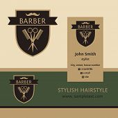 picture of barbershop  - Vector heraldic logo for a hairdressing salon - JPG