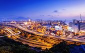 picture of hong kong bridge  - container terminal and stonecutter bridge in Hong Kong at sunset - JPG