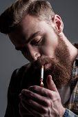 Lighting Up Cigarette.