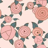 Seamless Roses Pattern. Vintage Roses. Vector