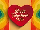Valentine Day Heart On Rainbow Background