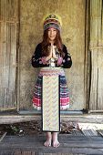 Traditionally Dressed Mhong Hill Tribe Woman Pay Respect