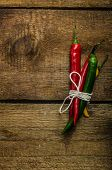 foto of chillies  - chilli peppers various kinds of space for advertising text - JPG