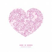 Vector pink flowers lineart heart silhouette pattern frame