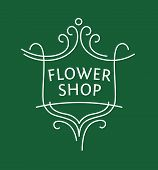 picture of plant pot  - Vector logo for a shop of flowers - JPG