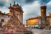 Tree Trunks For Bonfire Of Saint Anthony Bagnaia Italy