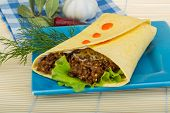 foto of shawarma  - Shawarma with meat salad leaves and spices - JPG