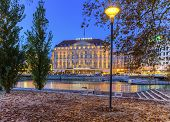 Bergues Hotel and riverside from Rousseau island, Geneva, Switzerland, HDR