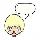cartoon unhappy girl with speech bubble