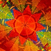 Kaleidoscopic mandala circular abstract pattern. Colorful background. Orange red generative art.
