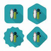 stock photo of hydroplanes  - Surfing Flat Icon With Long Shadow - JPG
