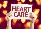 Heart Care card with heart bokeh background