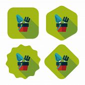 Shovel And Bucket Toys Flat Icon With Long Shadow,