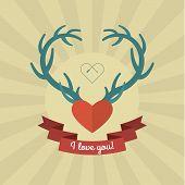 Heart with blue deer antlers.
