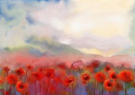 foto of garden-art  - Red poppy flowers filed painting with scenic watercolor background - JPG