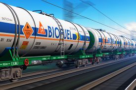 picture of biogas  - Fast train with tankcars with biofuel with motion blur effect - JPG