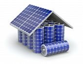 stock photo of solar battery  - 3D concept with solar panel and batteries - JPG