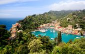 stock photo of yellow castle  - Aerial panorama of Portofino, Italy. View from Castle.