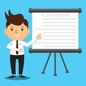 foto of presenting  - Cartoon Office Man Character presenting his company plan to achieve success on Sales or Project - JPG