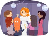 stock photo of reception-area  - Illustration of a Bride Entertaining Their Guests at the Reception Area - JPG
