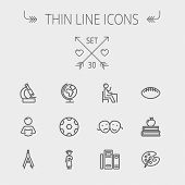 pic of ball cap  - Education thin line icon set for web and mobile - JPG